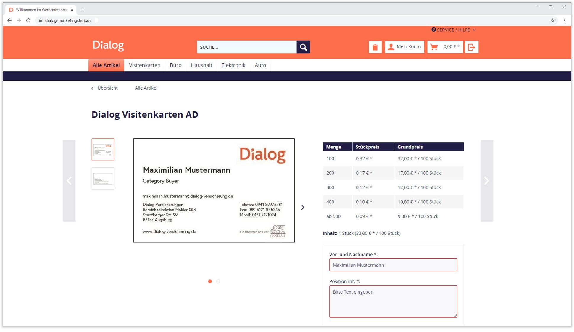 Dialog Visitenkarte