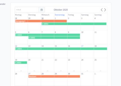 Mietartikel Adminbereich Kalender